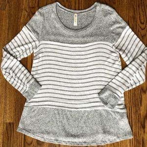Vanilla Bay Gray & White Stripe Soft Sweater